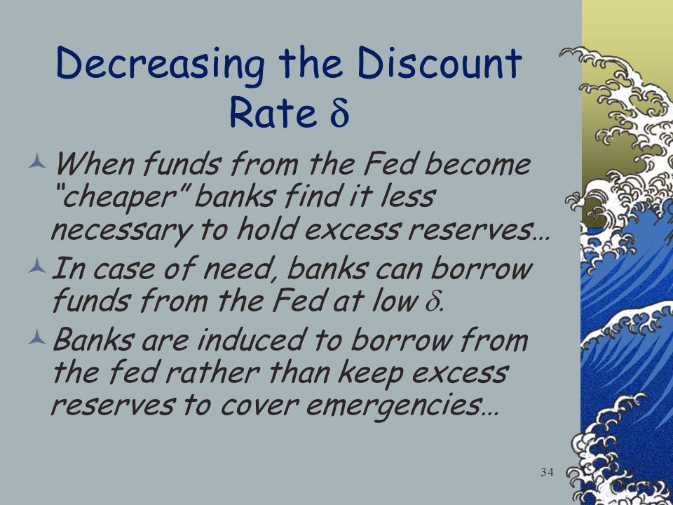 3.The Discount Rate: The interest rate charged by the Federal Reserve Bank on loans to Banks. =5% 33