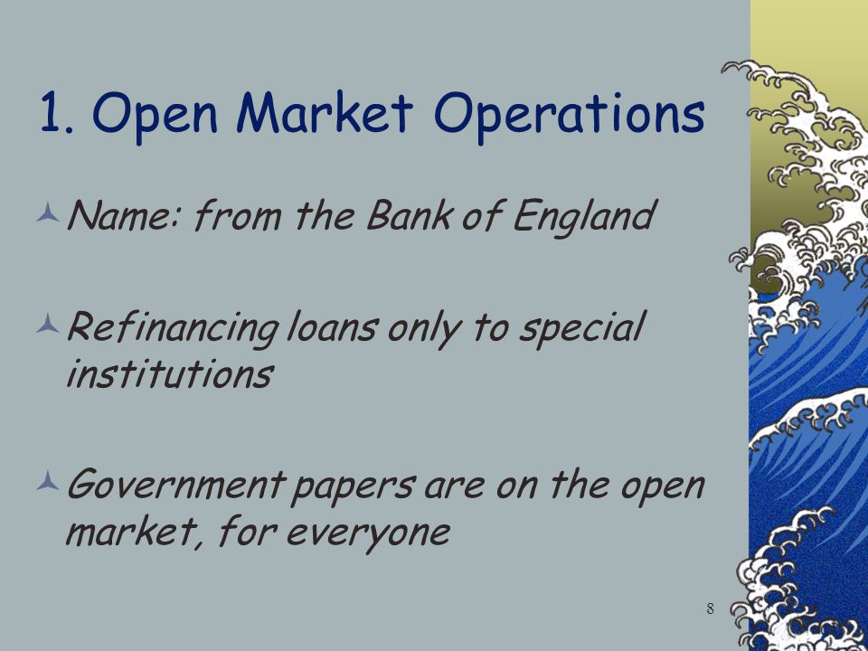 Monetary Policy Tools 1.Open Market Operations: Buying or Selling Bonds to the public. 2.Required Reserve Ratio. 3.Changing the Discount Rate. 4.Chang