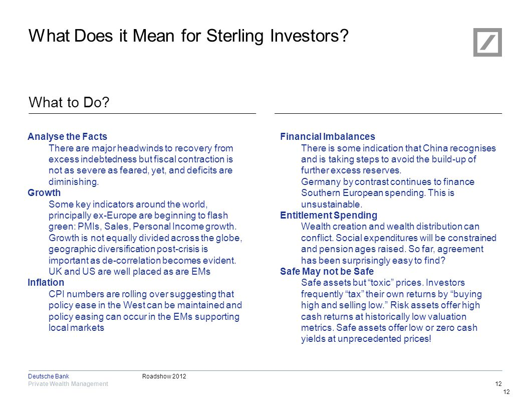 Roadshow 2012 Private Wealth Management Deutsche Bank 12 What Does it Mean for Sterling Investors? What to Do? 12 Analyse the Facts There are major he