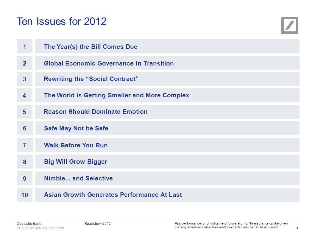 Roadshow 2012 Private Wealth Management Deutsche Bank 12 What Does it Mean for Sterling Investors.