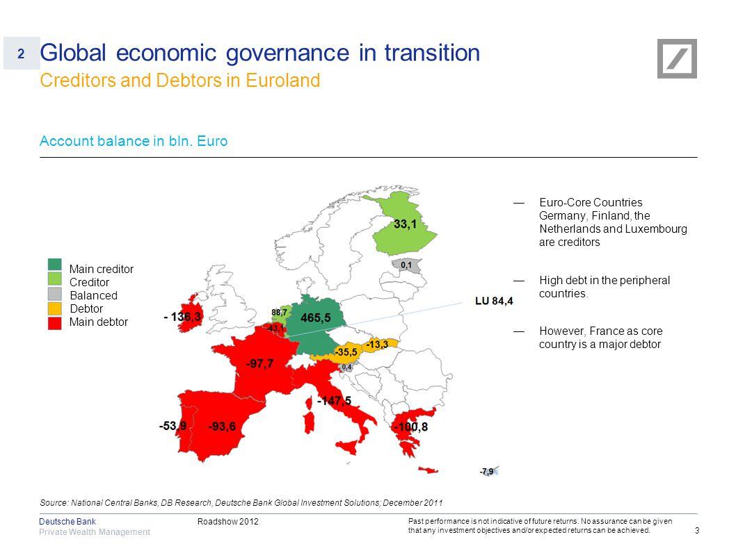 Roadshow 2012 Private Wealth Management Deutsche Bank 3 Source: National Central Banks, DB Research, Deutsche Bank Global Investment Solutions; Decemb