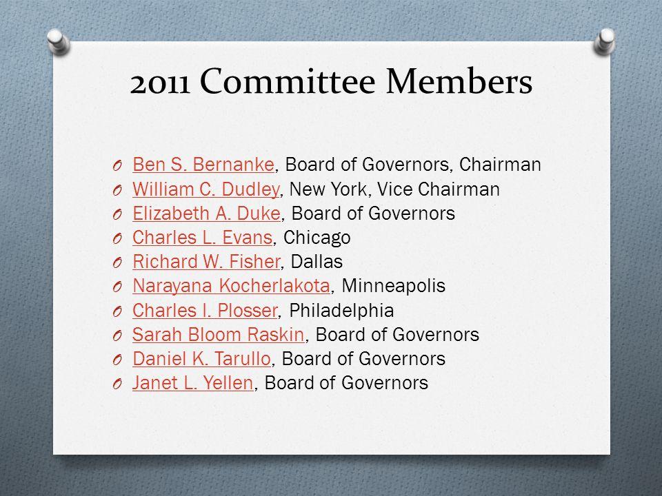 2011 Committee Members O Ben S. Bernanke, Board of Governors, Chairman Ben S. Bernanke O William C. Dudley, New York, Vice Chairman William C. Dudley