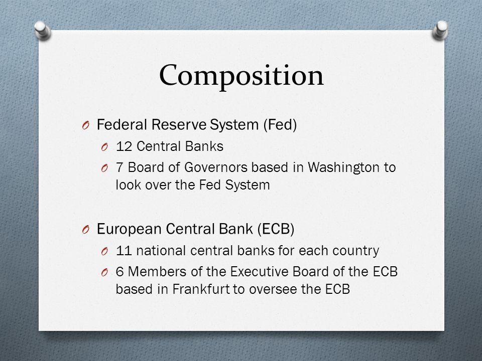 Composition O Federal Reserve System (Fed) O 12 Central Banks O 7 Board of Governors based in Washington to look over the Fed System O European Central Bank (ECB) O 11 national central banks for each country O 6 Members of the Executive Board of the ECB based in Frankfurt to oversee the ECB
