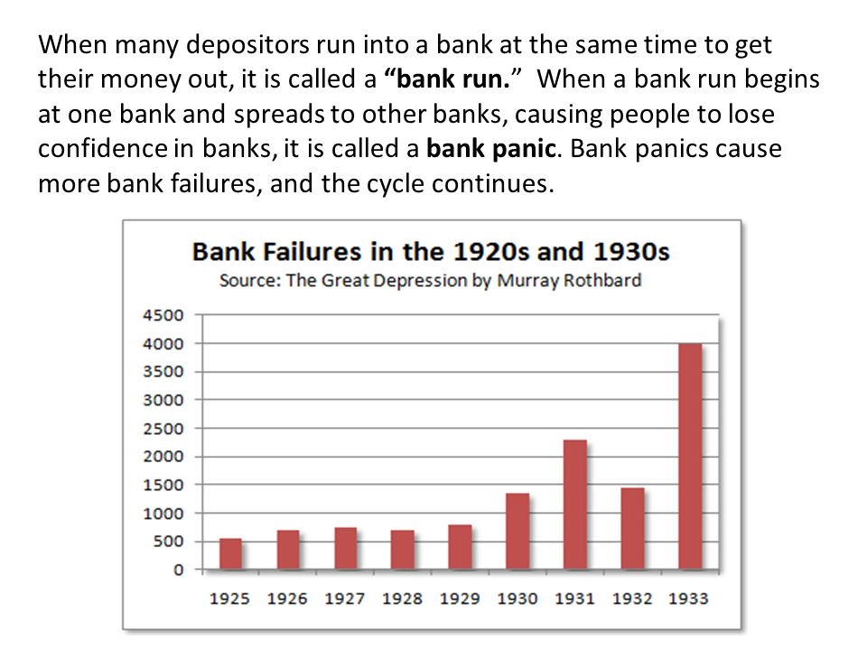 When many depositors run into a bank at the same time to get their money out, it is called a bank run.