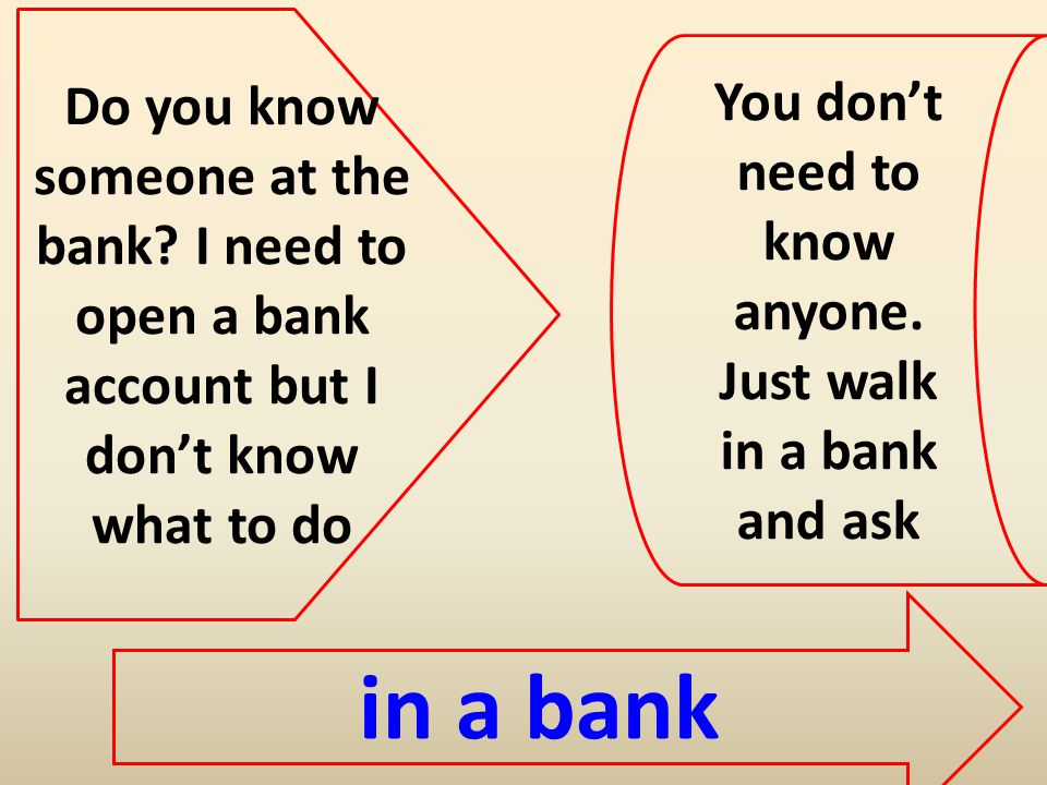 Do you know someone at the bank.