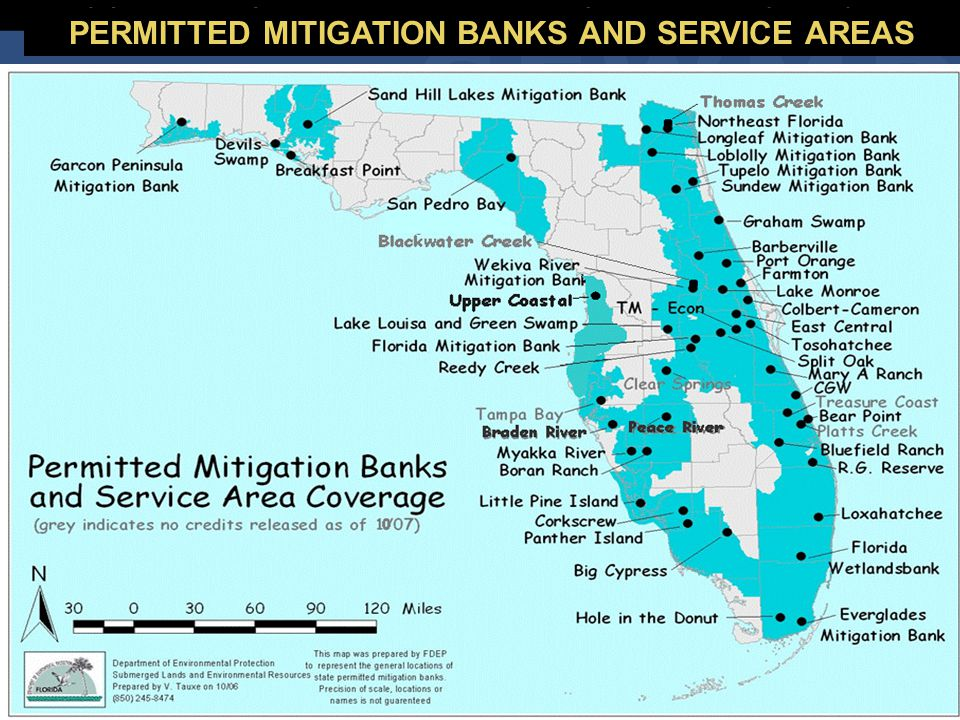 PERMITTED MITIGATION BANKS AND SERVICE AREAS
