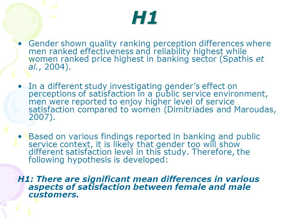 H1 Gender shown quality ranking perception differences where men ranked effectiveness and reliability highest while women ranked price highest in banking sector (Spathis et al., 2004).