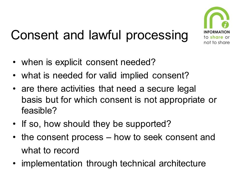 when is explicit consent needed? what is needed for valid implied consent? are there activities that need a secure legal basis but for which consent i