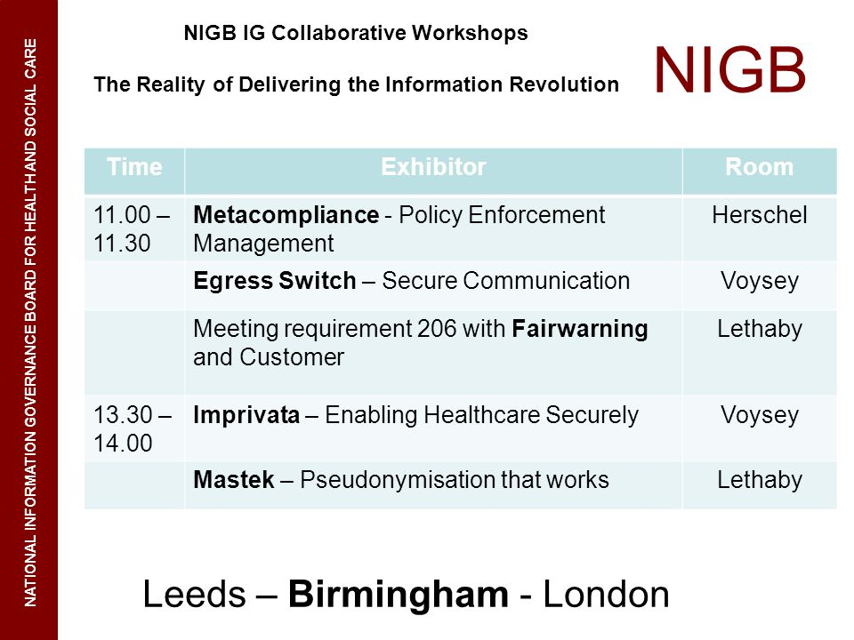 NIGB NATIONAL INFORMATION GOVERNANCE BOARD FOR HEALTH AND SOCIAL CARE NIGB IG Collaborative Workshops The Reality of Delivering the Information Revolution Leeds – Birmingham - London TimeExhibitorRoom 11.00 – 11.30 Metacompliance - Policy Enforcement Management Herschel Egress Switch – Secure CommunicationVoysey Meeting requirement 206 with Fairwarning and Customer Lethaby 13.30 – 14.00 Imprivata – Enabling Healthcare SecurelyVoysey Mastek – Pseudonymisation that worksLethaby