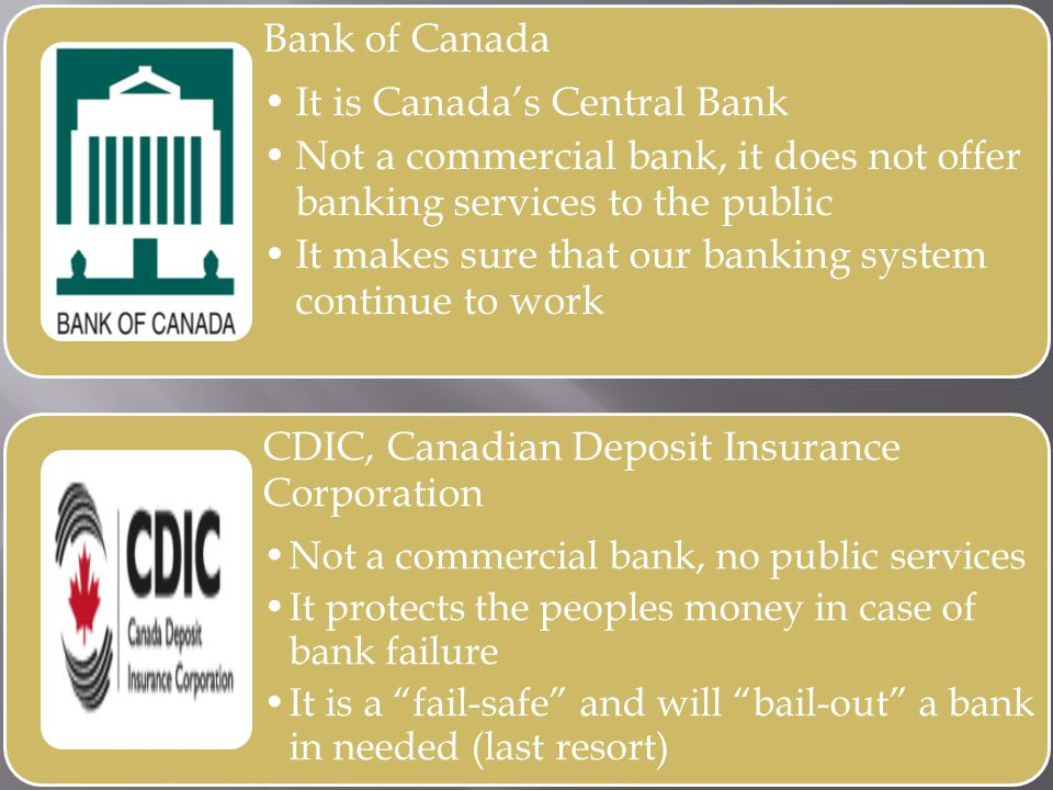 Bank of Canada It is Canadas Central Bank Not a commercial bank, it does not offer banking services to the public It makes sure that our banking system continue to work CDIC, Canadian Deposit Insurance Corporation Not a commercial bank, no public services It protects the peoples money in case of bank failure It is a fail-safe and will bail-out a bank in needed (last resort)
