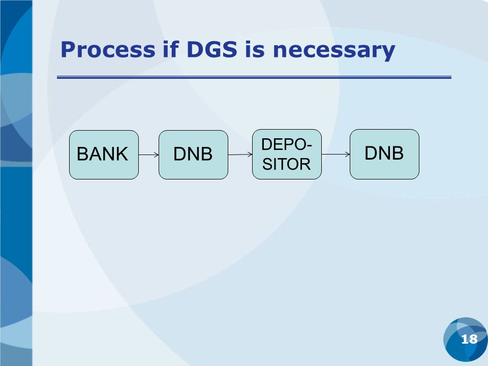 Process if DGS is necessary 18 BANKDNB DEPO- SITOR DNB