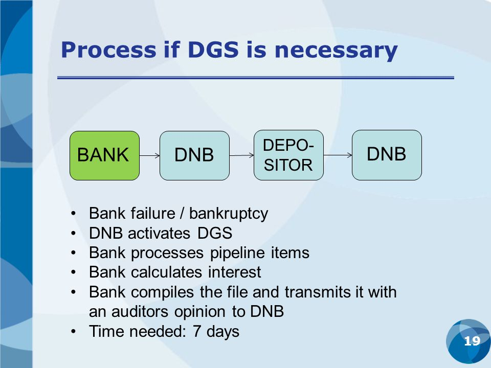 Process if DGS is necessary 19 BANKDNB DEPO- SITOR DNB Bank failure / bankruptcy DNB activates DGS Bank processes pipeline items Bank calculates interest Bank compiles the file and transmits it with an auditors opinion to DNB Time needed: 7 days