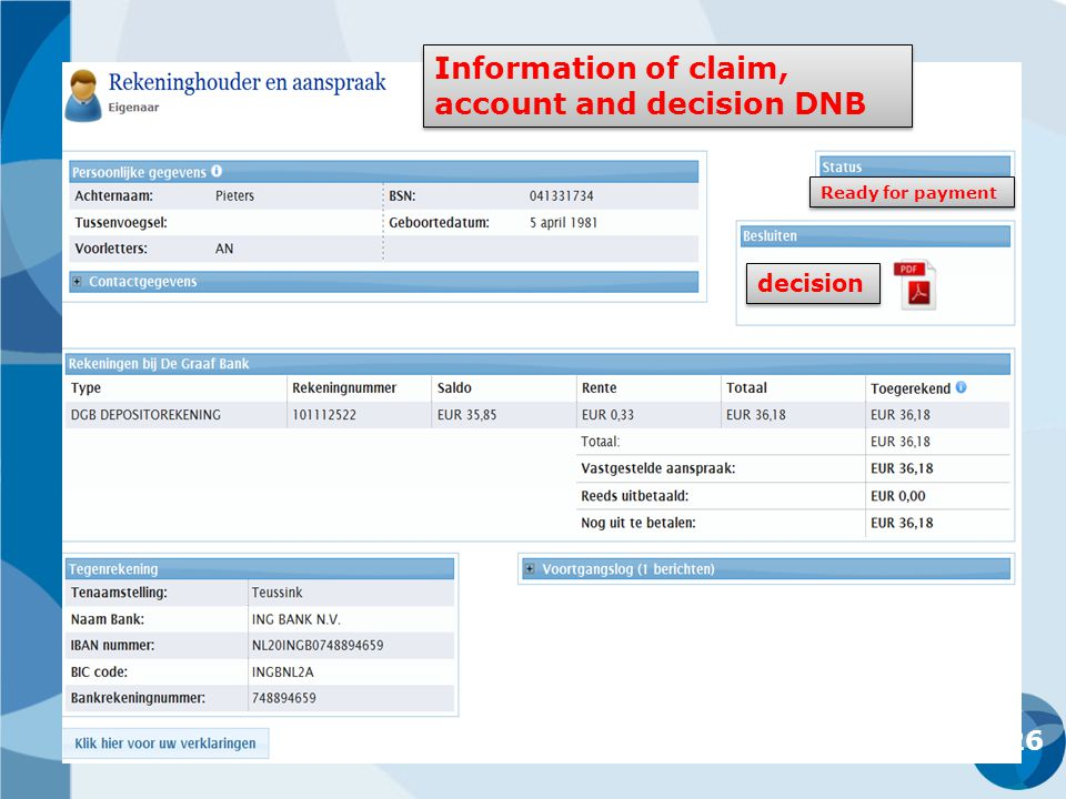 26 decision Ready for payment Information of claim, account and decision DNB