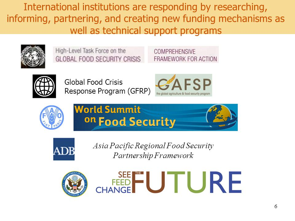 World Development Report 2008 6 International institutions are responding by researching, informing, partnering, and creating new funding mechanisms as well as technical support programs Global Food Crisis Response Program (GFRP) Asia Pacific Regional Food Security Partnership Framework