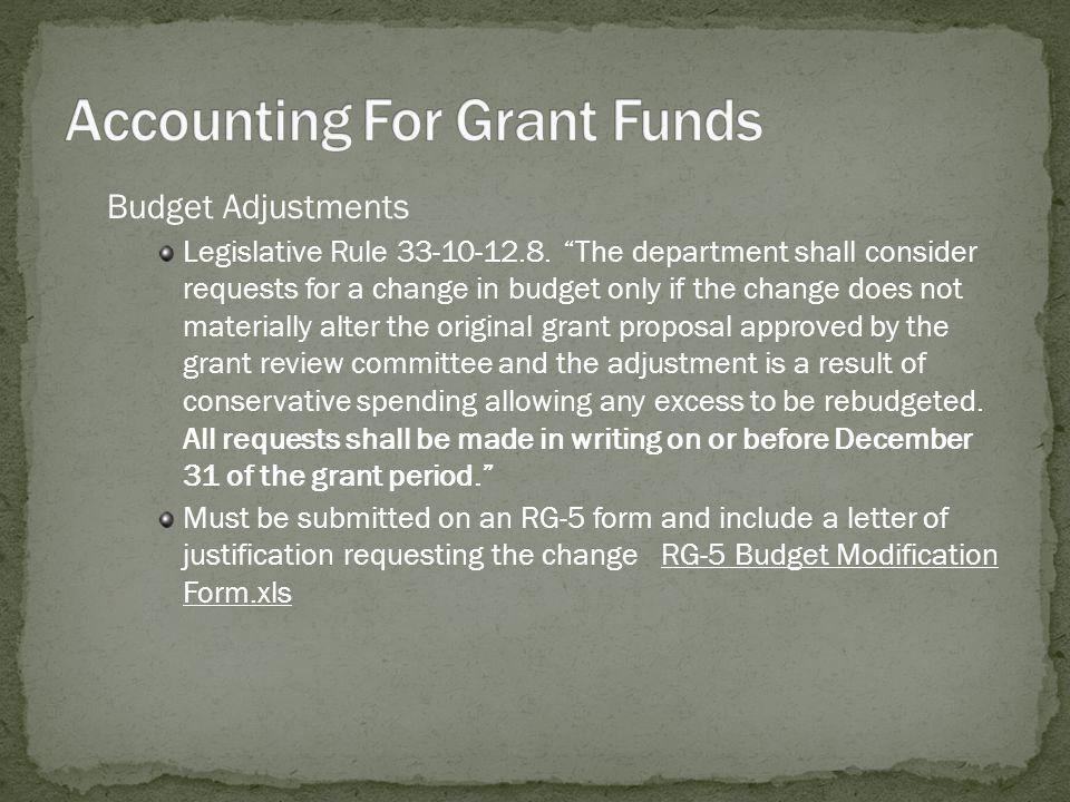 Budget Adjustments Legislative Rule 33-10-12.8.