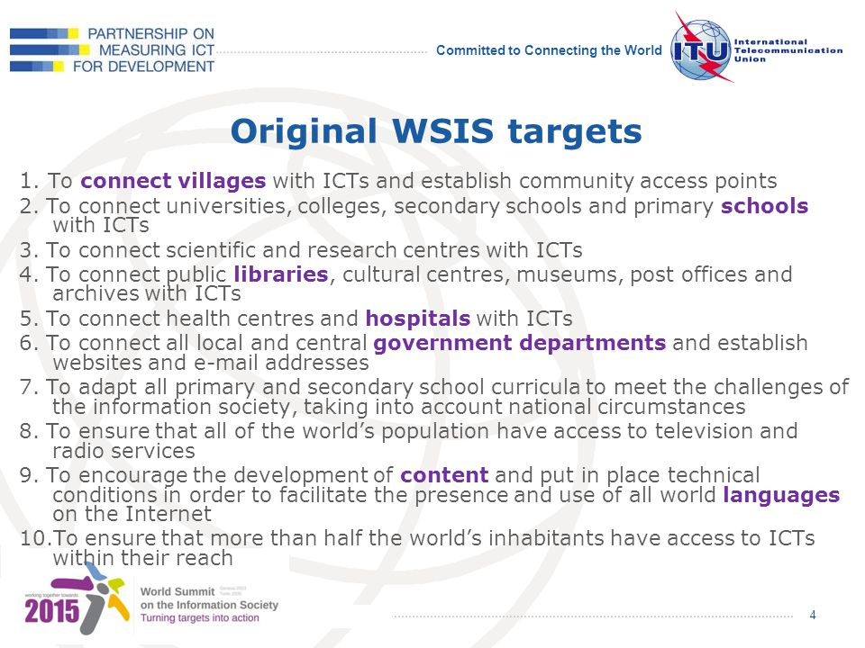 Committed to Connecting the World Original WSIS targets 1.