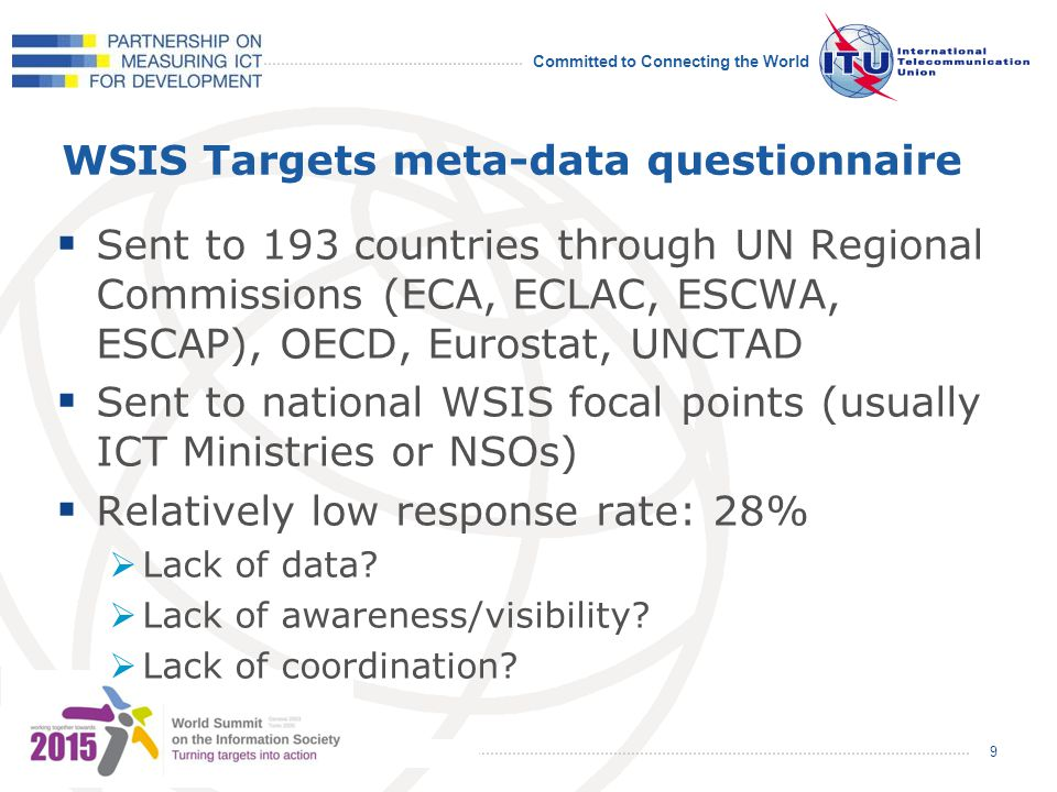 Committed to Connecting the World WSIS Targets meta-data questionnaire Sent to 193 countries through UN Regional Commissions (ECA, ECLAC, ESCWA, ESCAP), OECD, Eurostat, UNCTAD Sent to national WSIS focal points (usually ICT Ministries or NSOs) Relatively low response rate: 28% Lack of data.