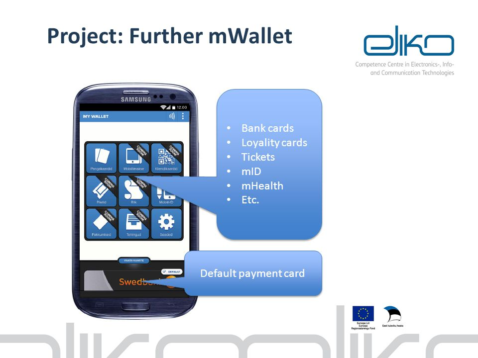 Project: Further mWallet Bank cards Loyality cards Tickets mID mHealth Etc. Bank cards Loyality cards Tickets mID mHealth Etc. Default payment card