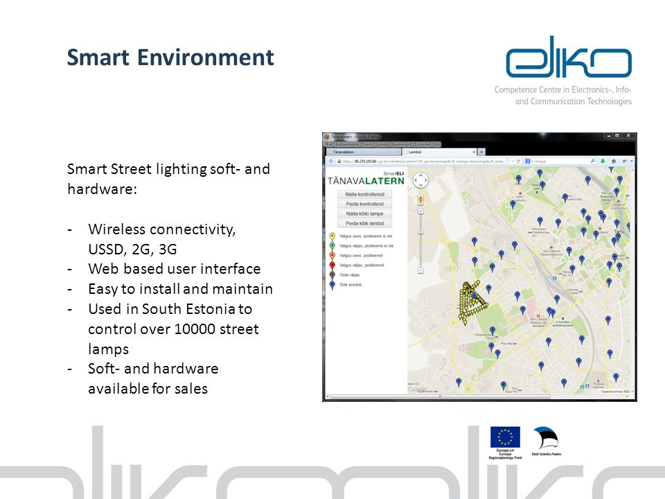 Smart Environment Smart Street lighting soft- and hardware: -Wireless connectivity, USSD, 2G, 3G -Web based user interface -Easy to install and mainta