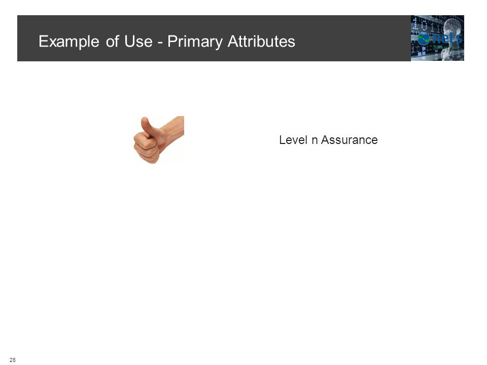 Example of Use - Primary Attributes Level n Assurance 26