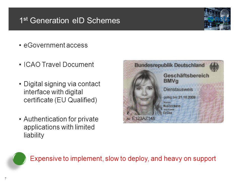 1 st Generation eID Schemes eGovernment access ICAO Travel Document Digital signing via contact interface with digital certificate (EU Qualified) Authentication for private applications with limited liability 7 Expensive to implement, slow to deploy, and heavy on support