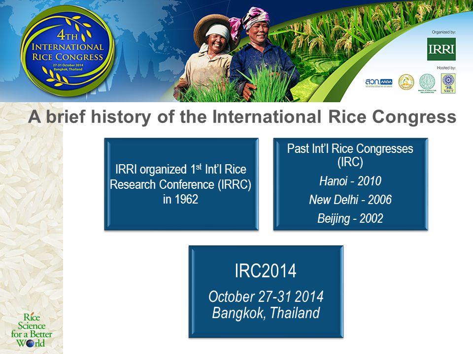 IRRI organized 1 st Intl Rice Research Conference (IRRC) in 1962 Past Intl Rice Congresses (IRC) Hanoi - 2010 New Delhi - 2006 Beijing - 2002 IRC2014