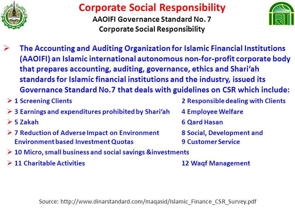 Corporate Social Responsibility AAOIFI Governance Standard No.