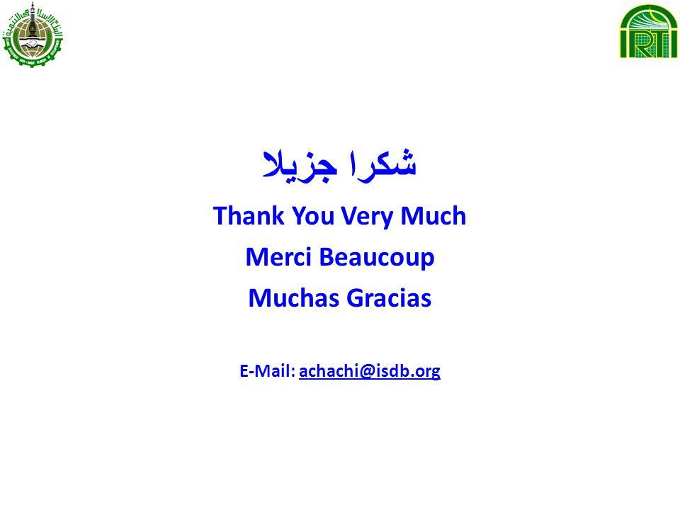 شكرا جزيلا Thank You Very Much Merci Beaucoup Muchas Gracias E-Mail: achachi@isdb.orgachachi@isdb.org