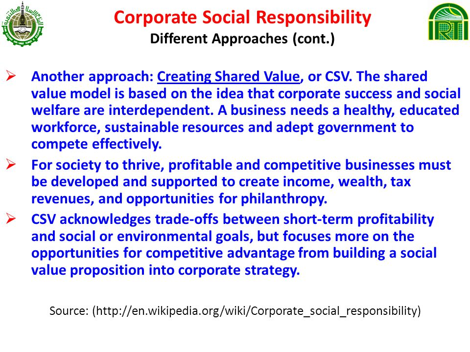 Corporate Social Responsibility Different Approaches (cont.) Another approach: Creating Shared Value, or CSV.