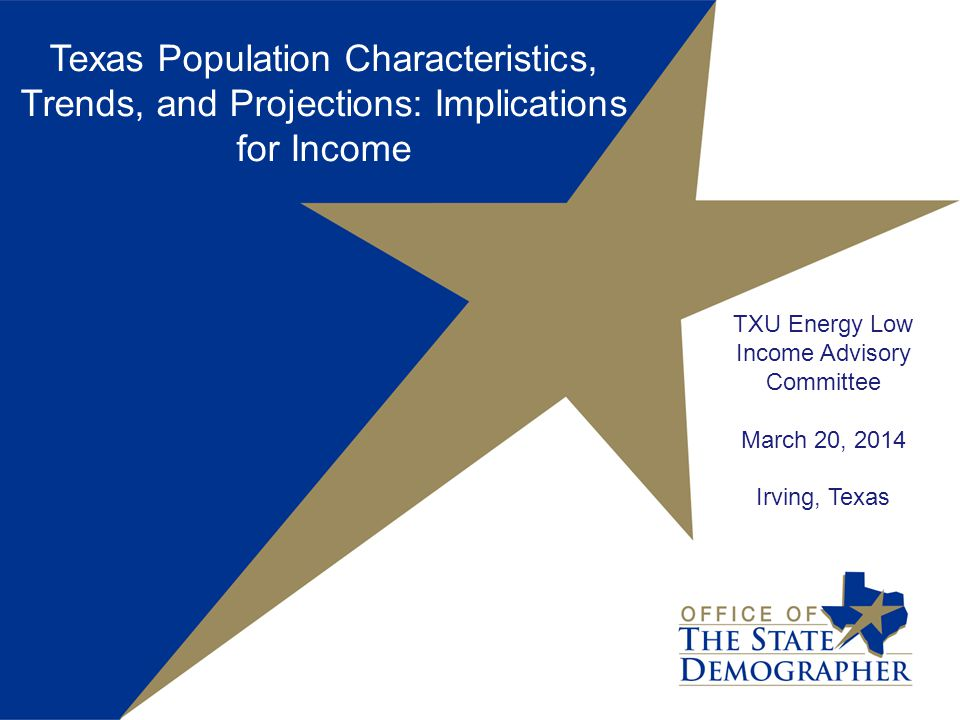 TXU Energy Low Income Advisory Committee March 20, 2014 Irving, Texas Texas Population Characteristics, Trends, and Projections: Implications for Income