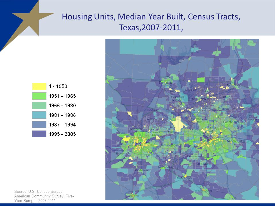 Housing Units, Median Year Built, Census Tracts, Texas,2007-2011, Source: U.S.