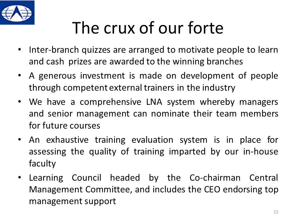 The crux of our forte Inter-branch quizzes are arranged to motivate people to learn and cash prizes are awarded to the winning branches A generous inv