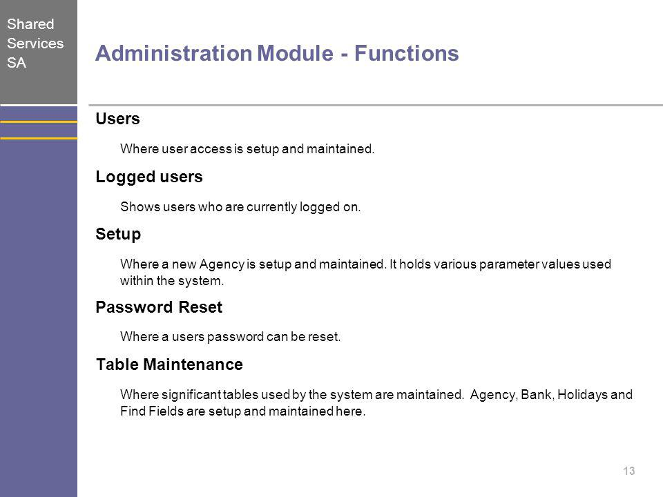 Shared Services SA 13 Administration Module - Functions Users Where user access is setup and maintained. Logged users Shows users who are currently lo
