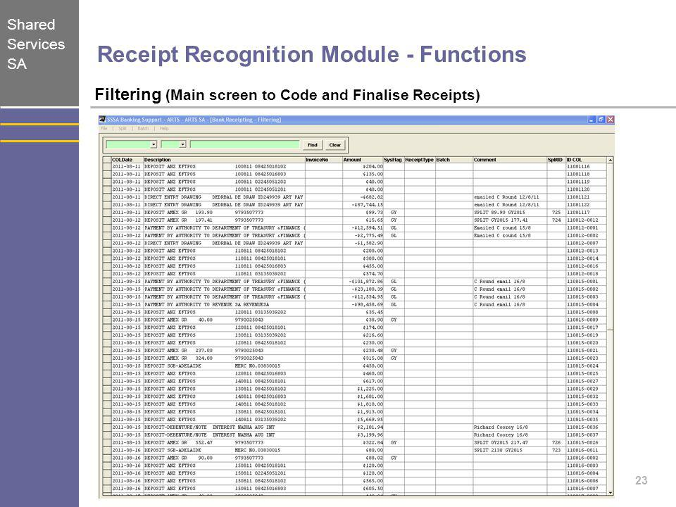 Shared Services SA 23 Receipt Recognition Module - Functions Filtering (Main screen to Code and Finalise Receipts)