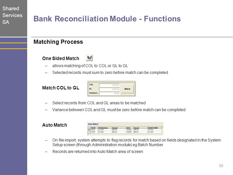 Shared Services SA 30 Bank Reconciliation Module - Functions Matching Process One Sided Match –allows matching of COL to COL or GL to GL –Selected rec
