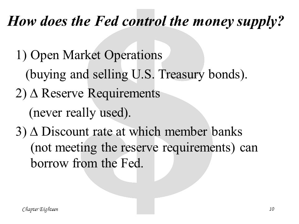 Chapter Eighteen10 How does the Fed control the money supply.