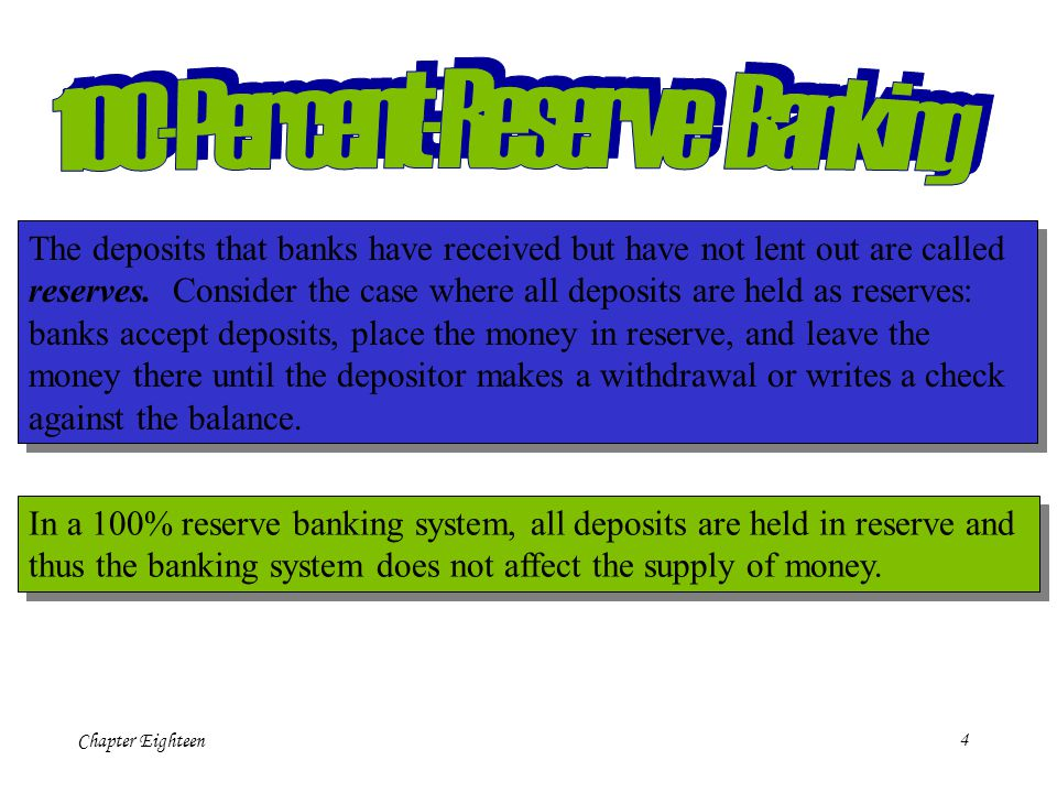 Chapter Eighteen4 The deposits that banks have received but have not lent out are called reserves.