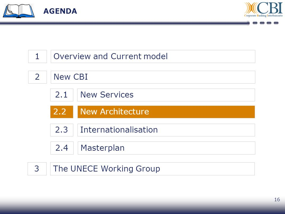 16 AGENDA New CBI2Overview and Current model1New Architecture2.2 New Services2.1 Internationalisation2.3 Masterplan2.4 The UNECE Working Group3