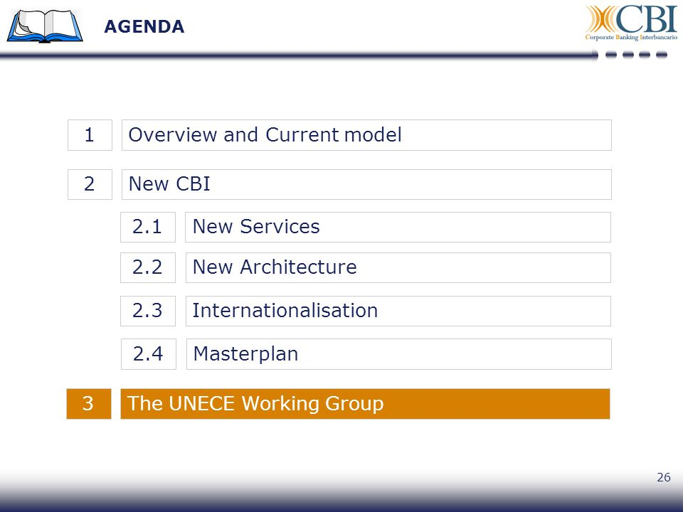 26 AGENDA New CBI2Overview and Current model1 New Architecture2.2 New Services2.1 Internationalisation2.3 Masterplan2.4 The UNECE Working Group3