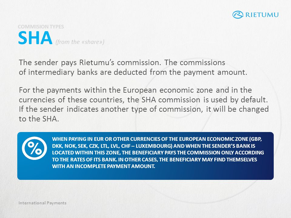 International Payments The sender pays Rietumus commission.