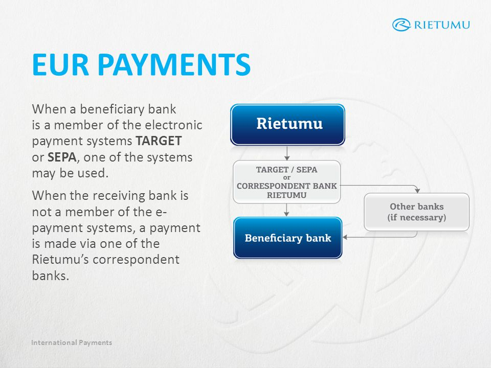 International Payments EUR PAYMENTS When a beneficiary bank is a member of the electronic payment systems TARGET or SEPA, one of the systems may be used.