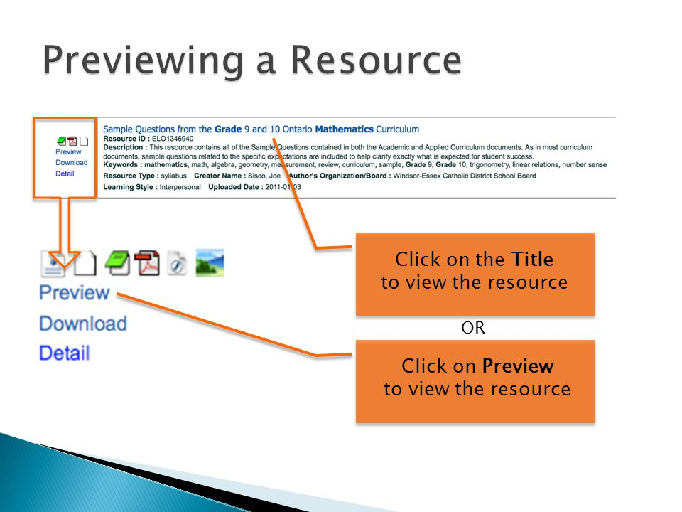 Click on the Title to view the resource Click on Preview to view the resource OR