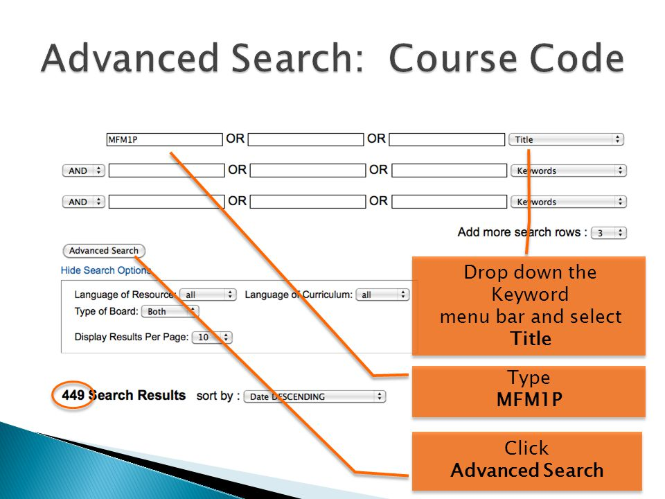 Drop down the Keyword menu bar and select Title Type MFM1P Click Advanced Search