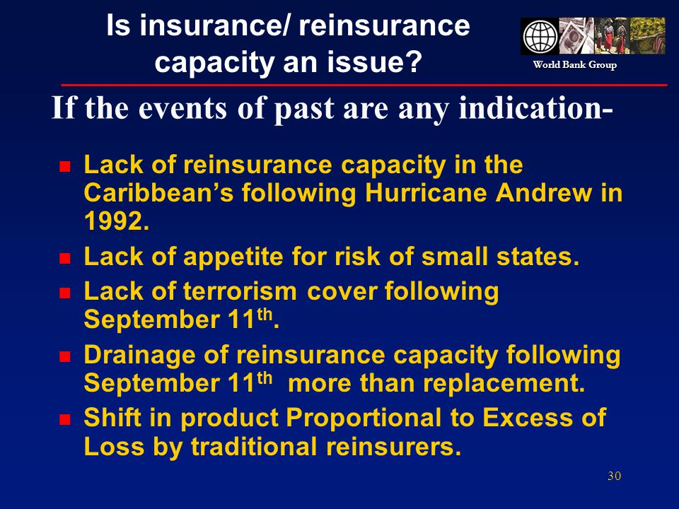 World Bank Group 30 Is insurance/ reinsurance capacity an issue? n Lack of reinsurance capacity in the Caribbeans following Hurricane Andrew in 1992.