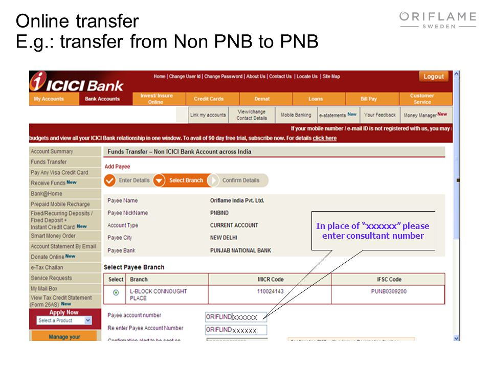 Online transfer E.g.: transfer from Non PNB to PNB In place of xxxxxx please enter consultant number xxxxxx