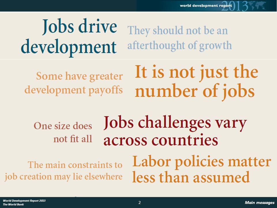 3 The jobs challenge World Development Report 2013 The World Bank Jobs challenges are huge