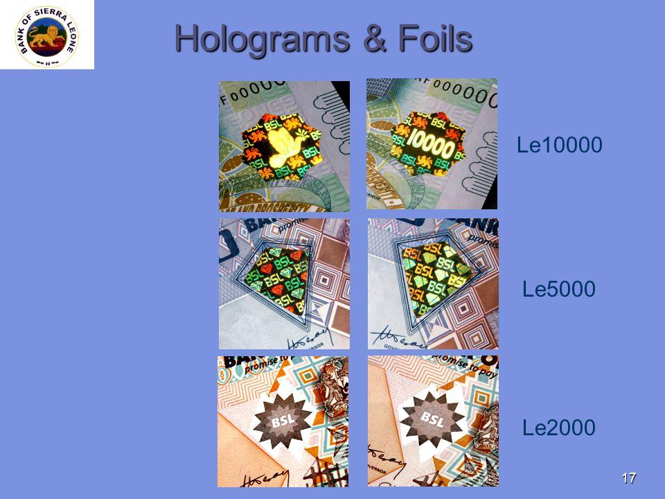 17 Holograms & Foils Le10000 Le5000 Le2000