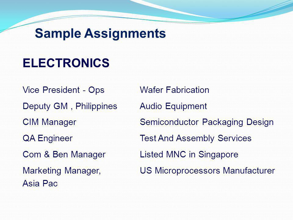 Sample Assignments ELECTRONICS Vice President - OpsWafer Fabrication Deputy GM, PhilippinesAudio Equipment CIM ManagerSemiconductor Packaging Design QA EngineerTest And Assembly Services Com & Ben ManagerListed MNC in Singapore Marketing Manager, US Microprocessors Manufacturer Asia Pac