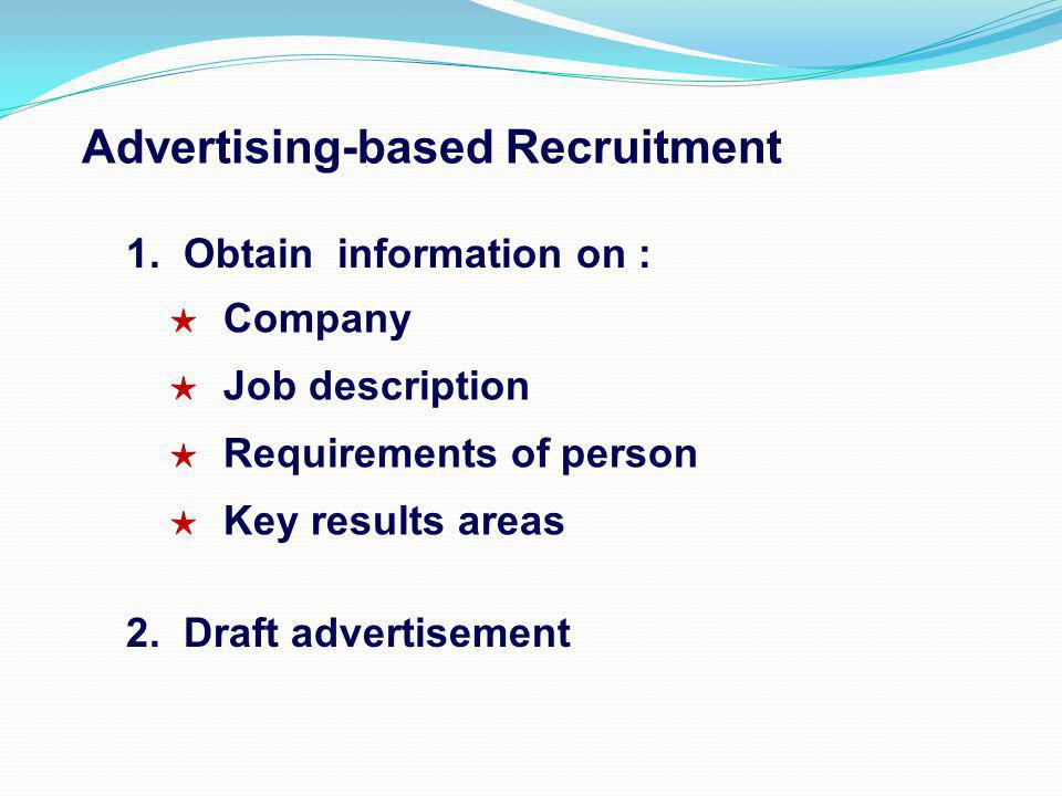 Advertising-based Recruitment 1. Obtain information on : Company Job description Requirements of person Key results areas 2. Draft advertisement