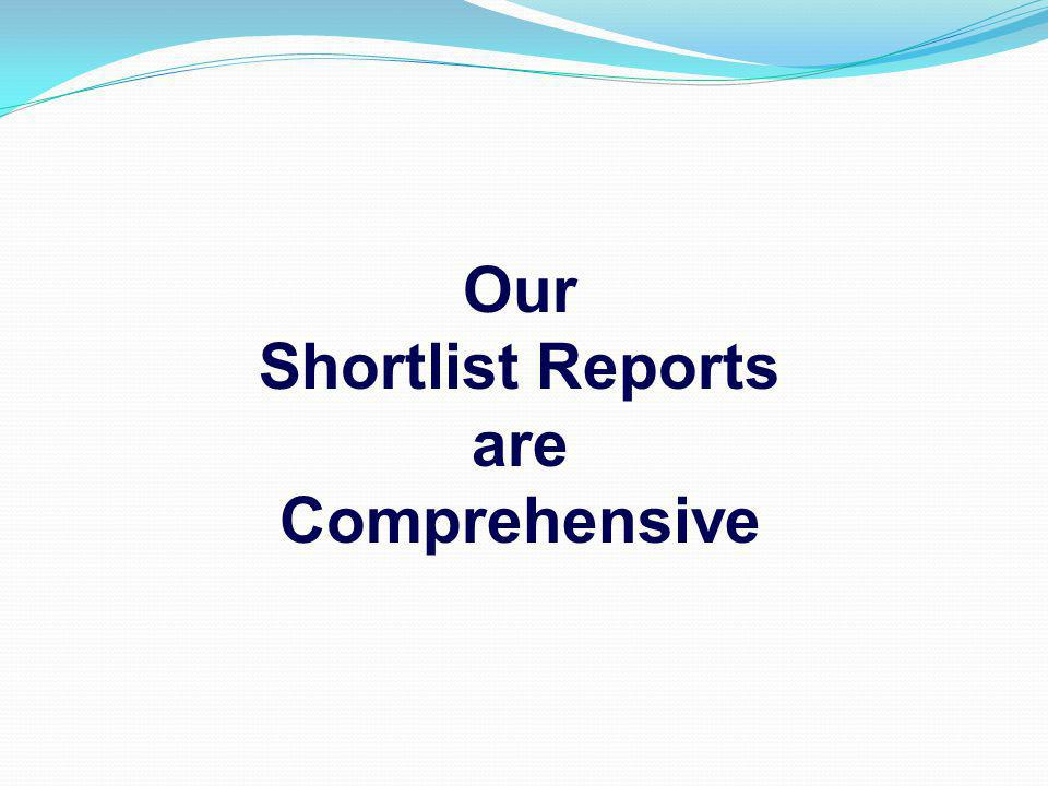 Our Shortlist Reports are Comprehensive